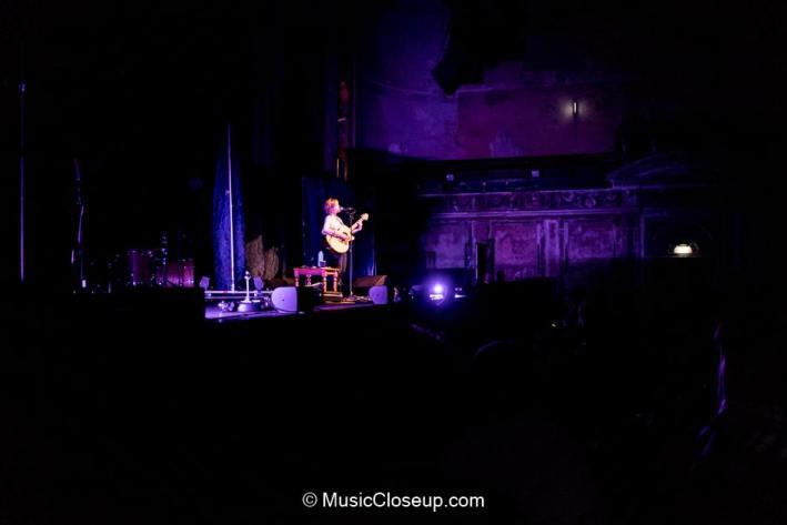 A long shot of Emily Barker playing at Alexandra Palace
