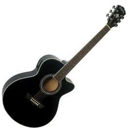Washburn EA12B Mini Jumbo Acoustic-Electric Guitar Black