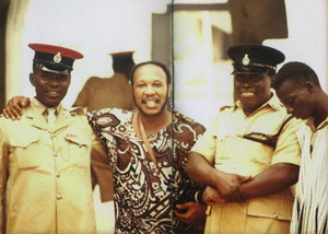 Les McCann and Amoah Azangeo With Guards At The Slave Dungeons 1971