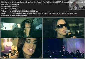Armin van Buuren feat. Jennifer Rene – Fine Without You [2009, DVDrip] Music Video {ReUp}