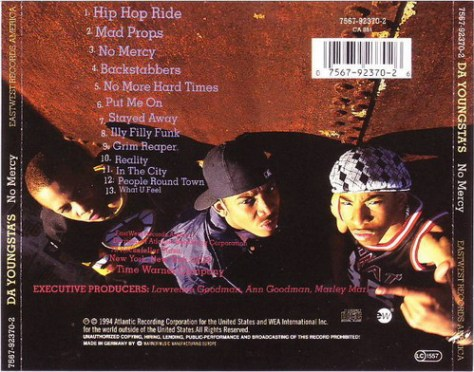Da Youngstas - No Mercy (Atlantic) 1994 Back Cover