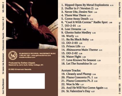 Galt MacDermot - Up From The Basement Unreleased Tracks Vol. 1 & 2 Back Cover Art