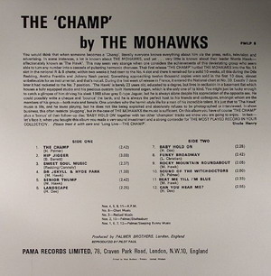 The Mohawks - Champ (Vinyl LP) Back Cover Art