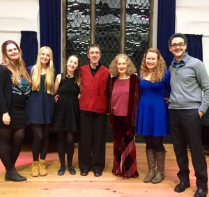 From left to right: Charlotte Woodward, Milly Price, Laura Mullaly, Jacob Heringman, Emma Kirkby, Megan Batty, Hector Sequera