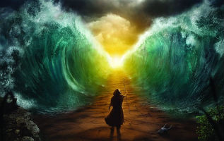 image of figure crossing the red sea