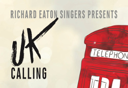 Richard Eaton Singers poster - phone box and UK grafitti