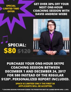 Holiday Promotion 2017: 30% off Skype music and music entrepreneur coaching session