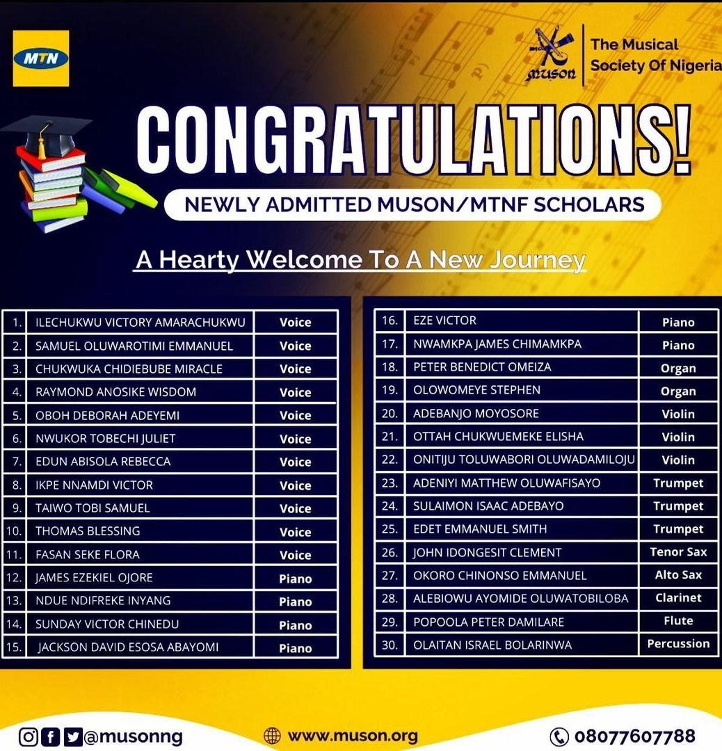 List of MUSON Diploma Scholars