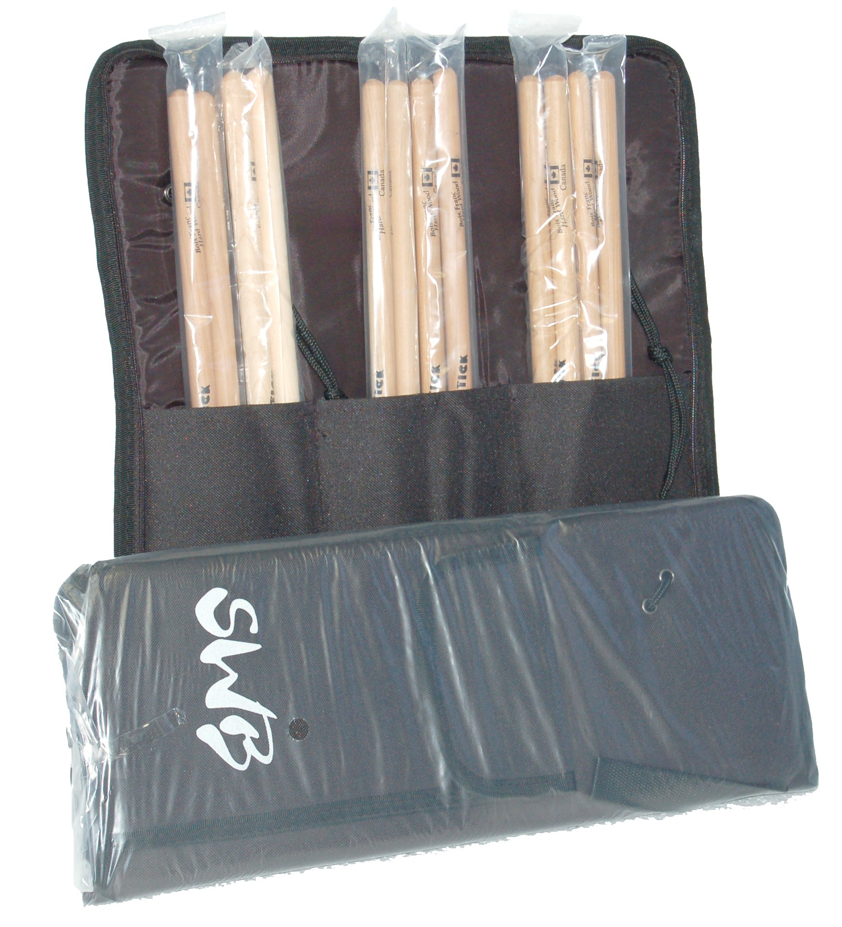 SWB DRUM BAG WITH 6 PAIR OF DRUM STICKS 5A