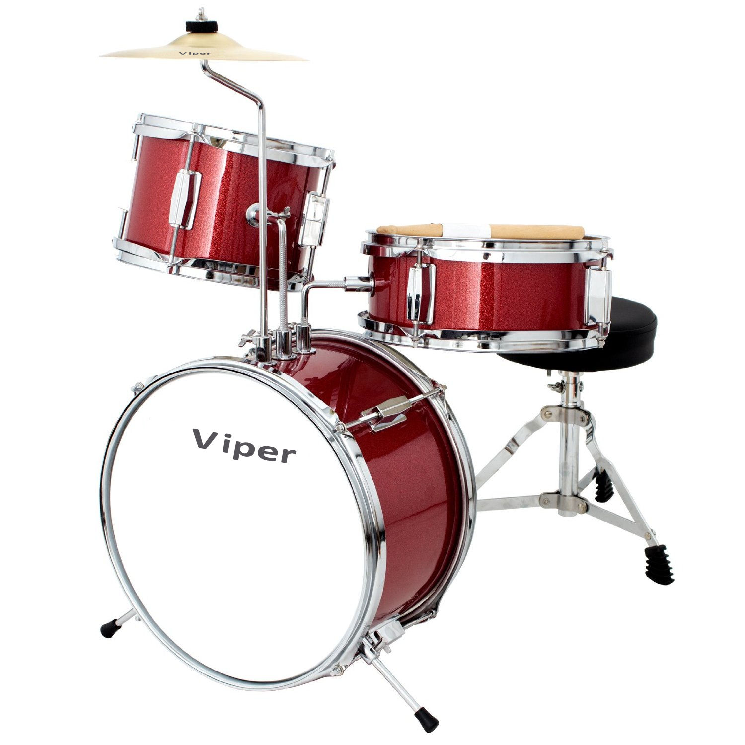 VIPER JR. 20 Child's DRUM SET METALLIC RED