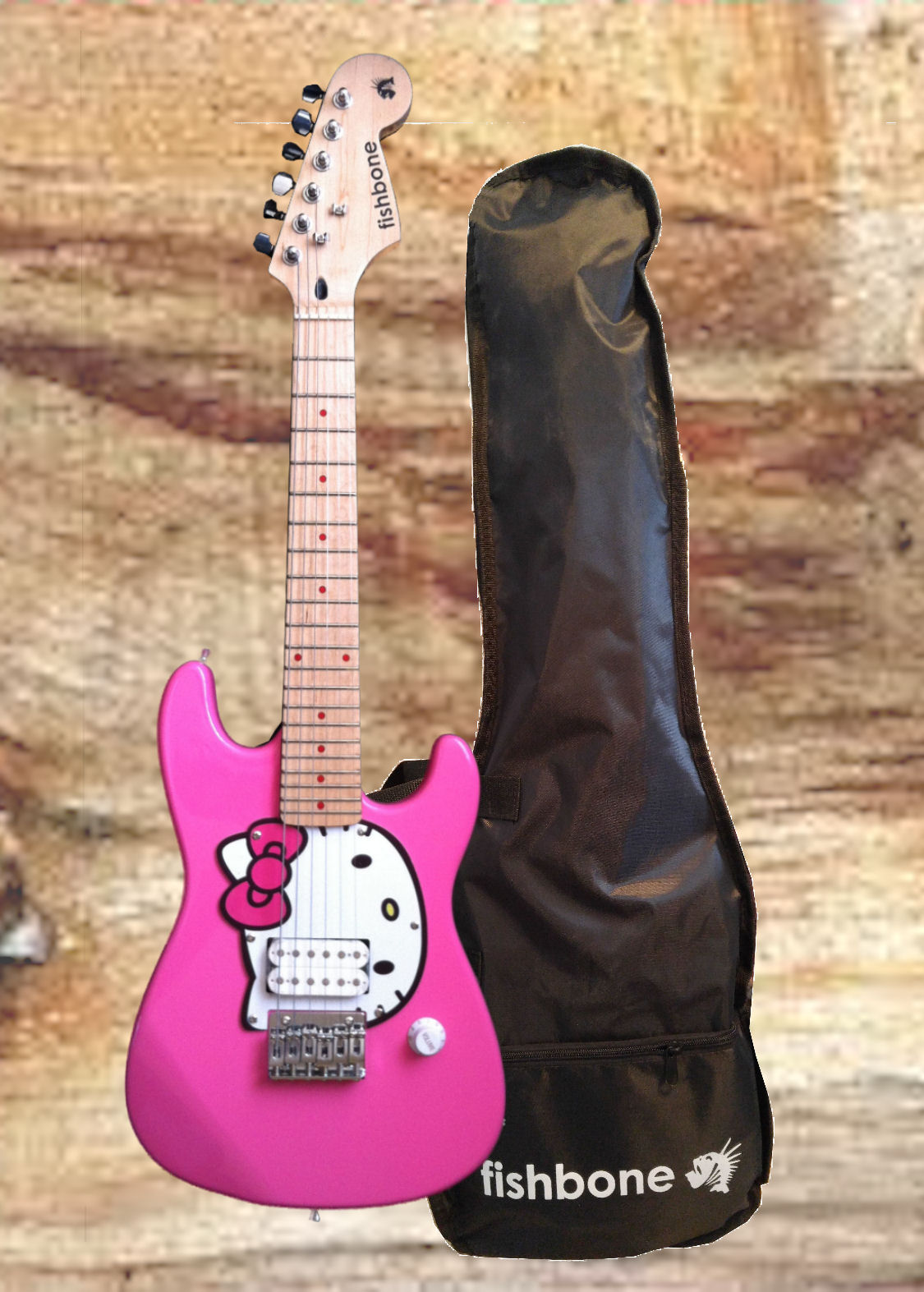 fishbone HELLO KITTY-PINK 3/4 Size Travel Guitar