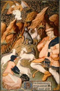 Shepherd piping to his flock; angels in the sky