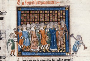 Mixed medieval choir, with musicians outside the frame