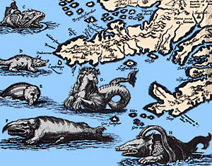 Map with sea monsters