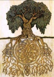Yggdrasil tree with woven roots