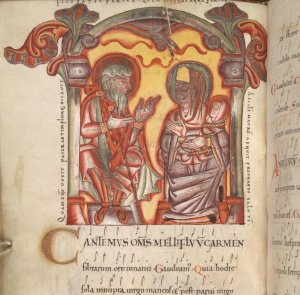 Two figures in a mediaeval frame