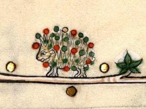decorated mediaeval hedghog