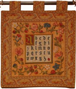 tapestry alphabet hanging