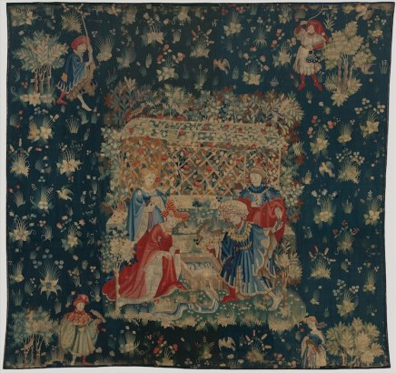 flowers on a piece of medieval embroidery