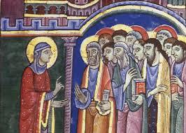 Mary addressing apostles