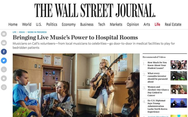 MOC Featured In The Wall Street Journal – Musicians On Call