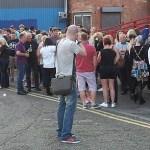 Philip Vernon photographs the queue outside The Musician