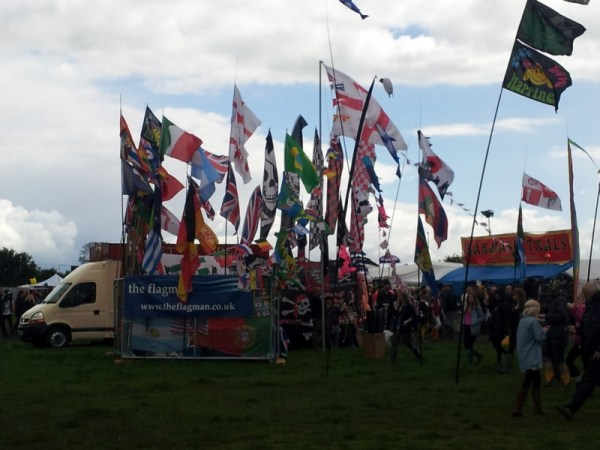 Flags at Glastonbudget in the main field