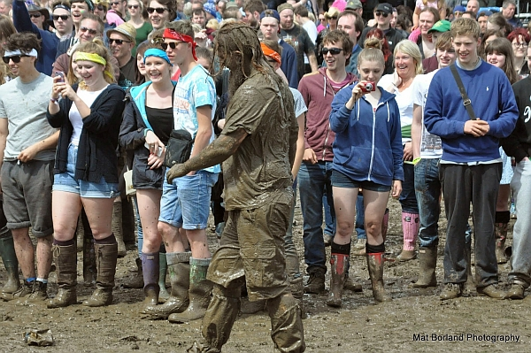 The mud was reminiscent of the infamous Glastonbury festival