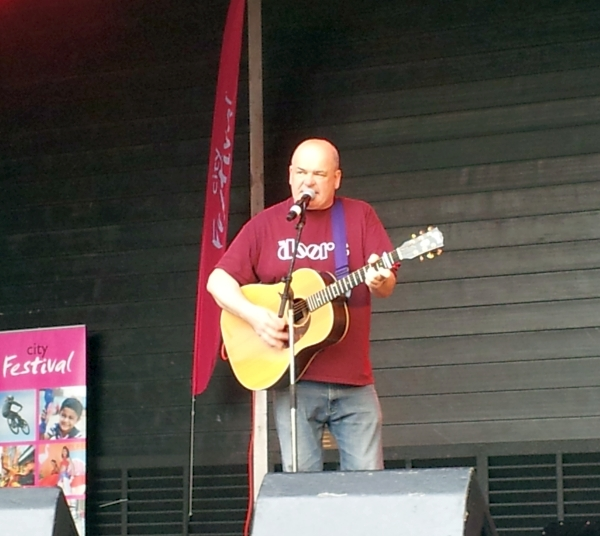Singer Kevin Hewick on the main stage City Festival October 2014