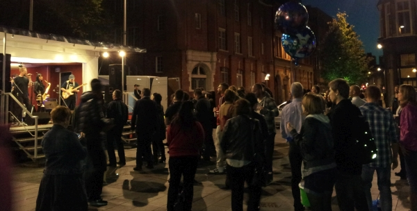The crowd enjoying Kingsize in Orton Square Oxjam 2014