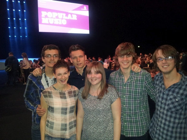 Members of Off Beat a band from Leicester that played in the Popular Music event at the LG Arena in November 2014