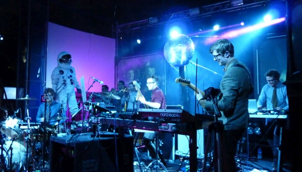 Public Service Broadcasting, performing at the Space Centre 2015 Photo: Keith Jobey