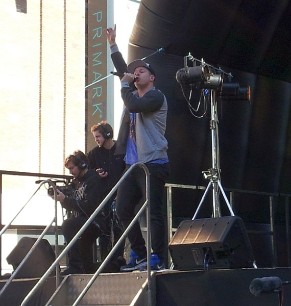 Jonezy entertains the crowd in Humberstone Gate, Leicester