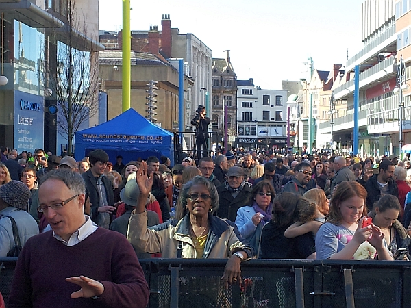 The crowd in Humberstone Gate on Good Friday
