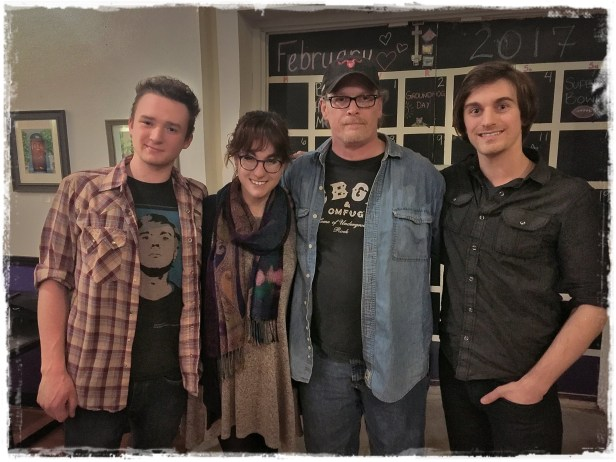 Jackson Arnold, Maddie Nicole, Rick Gethin (Music in Motion) and James Sterling (L-R)