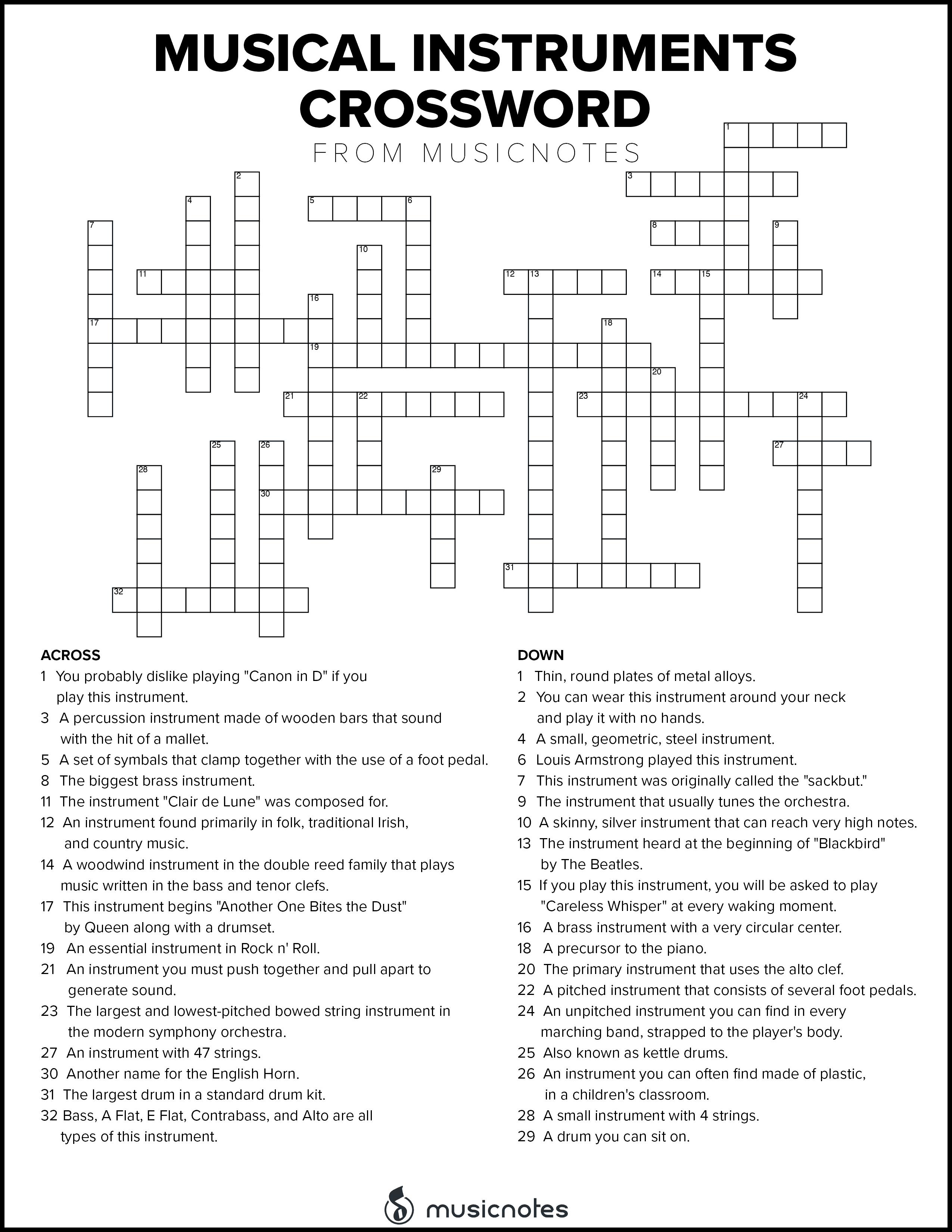 Musical Crossword Puzzles With Free Printables