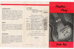 1954 dated Red fold-out, double-sided, showing Model 1000 Rhythm Chief