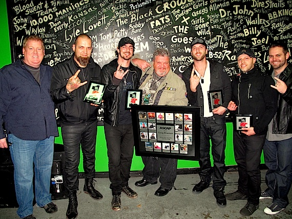 Photo (L-R): Mike Sistad (ASCAP Senior Creative Director), Barry Stock, Adam Gontier, Craig Wiseman, Neil Sanderson, Brad Walst and Seth England (Big Loud Shirt). Photo: ASCAP