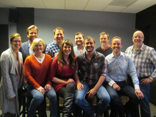 (L–R):Back Row: Scott Safford (Attorney), Tim Nichols (THiS Music), Blain Rhodes (WC), Ben Vaughn (Warner/Chappell), Phil May (Warner/Chappell)Front Row:  Penny Everhard (BMI), Connie Harrington (THiS Music), Janine Appelton (THiS Music), Drew Baldridge, Rusty Gaston (THiS Music)