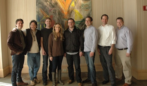 Pictured (L-R): Robert Clement, American Songspace; Butch Baker, HoriPro; Lee Krabel, HoriPro; Elise Davis, Andrew Clore, Clore Entertainment; Kent Wolfenbarger; Tim Stehli, HoriPro; Bradley Collins, BMI.