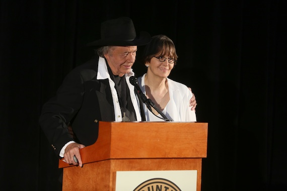 "Bobby Bare and Suzi Cochran announce the late Hank Cochran as the ""Songwriter"" inductee. Photo: Alan Poizner / CMA"