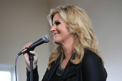 RCA Nashville's Trisha Yearwood performing new music and hits at tonight's (Aug. 19) event in Nashville. Photo: Bev Moser