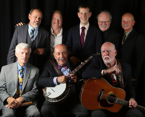 2014 Hall of Fame inductees, The Original Seldom Scene with current members, and Chris Eldridge. Photo: Dave Brainard.