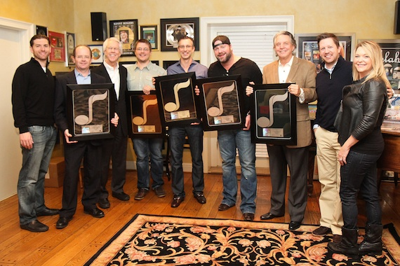 Pictured (L-R): Lee Brice, David Israelite and Curb Publishing executives. Photo: NMPA/Bev Moser.