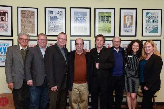 Pictured (L-R): Drummer Larry Atamanuik and bassist Mike Bub; Ralph Peer II; Barry Mazor; band leader Shawn Camp; Country Music Hall of Fame and Museum historian John Rumble and manager of public progams Abi Tapia; fiddler-guitarist Laura Cash.