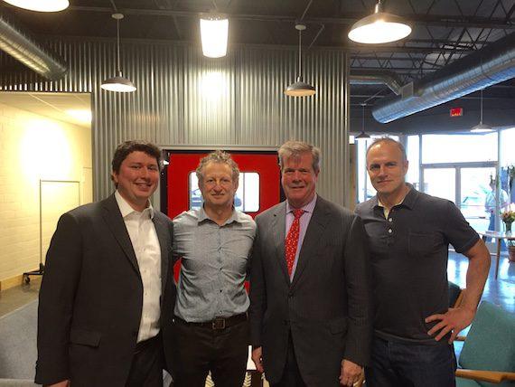 Chris Parham (mayor's office) , Craig Balsam (Co-Owner Razor & Tie), Mayor Karl Dean, and Cliff Chenfeld (Co-Owner Razor & Tie) celebrate the grand opening of Razor & Tie's new building in Nashville, Tenn.