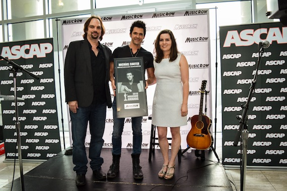 Pictured (L-R): MusicRow's Sherod Roberston, songwriter Michael Carter, MusicRow's Sarah Skates. Photo: Bev Moser.