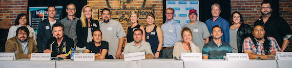 Pictured: Row One: Panelists Thomas Goulbic, Russell Ziecker, Chris Restivo, Daniel Kuypers, Frankie Pine, Andrew Kahn, Danny Exum; Row Two: Denise Nichols (AIMP Secretary/Primacy Firm), Brad Peterson (5/3 Bank), Craig Currier (peermusic), Ree Buchanan (AIMP Treasurer/Wrensong), Tim Fink (SESAC), Kim McCollum-Mele (Words & Music), Melissa Hollis (Kalatech),  John Ozier (ole), Marc Driskill (AIMP Exec. Director/Sea Gayle), Randy Wachtler (Warner/Chappell Music Prod), Kari Barnhart (5/3 Bank), Randall Foster (ole) // Photo Credit: Amy Allmand