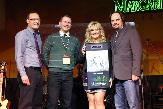 Pictured (L-R): MusicRow's Craig Shelburne and Troy Stephenson, Erica Nicole, and MusicRow's Sherod Robertson.