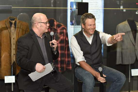"Country Music Hall of Fame and Museum historian Michael McCall (L) interviews singer-songwriter Blake Shelton during the debut of the ""Blake Shelton: Based on a True Story"" Exhibit at Country Music Hall of Fame and Museum on June 6, 2016 in Nashville, Tennessee. (Photo by John Shearer/Getty Images for Country Music Hall Of Fame & Museum)"